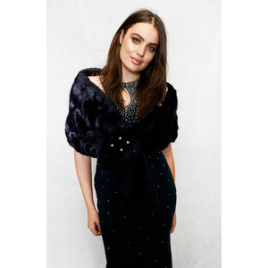 Pamela Scott Navy Faux Fur Shrug
