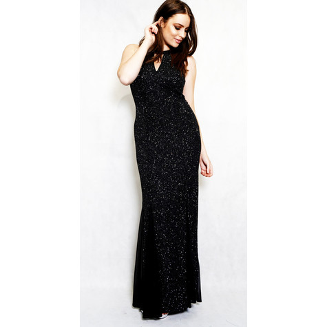 Night Way Black & Silver Sleeveless Long Dress