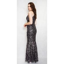 Night Way Black & Taupe Lace Halterneck Long Dress