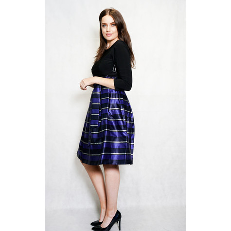 Jessica Howard Royal Blue & Metallic Strip Ruffle Dress