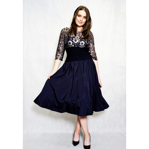 Jessica Howard Navy & Gold Lace Floral Detail Ruffle Dress