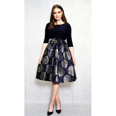 Jessica Howard Navy & Silver Floral Detail Ruffle Dress