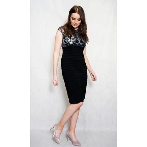 Scarlett Black & Silver Ripple Detail Dress