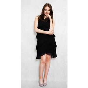 SL Fashions Black Mesh Layered Sleeveless Dress