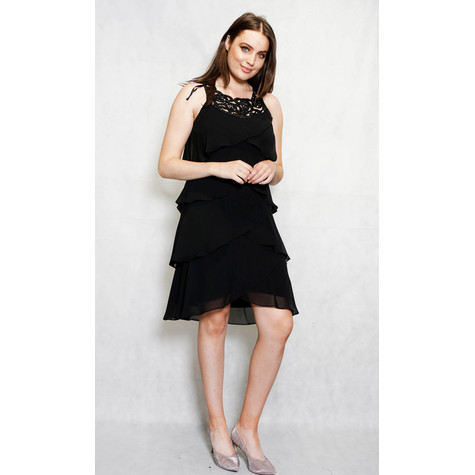 SL Fashions Black Mesh Layered Sleeveless Dress