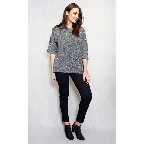 SophieB Soft Pink & Grey Pearl Detail Top