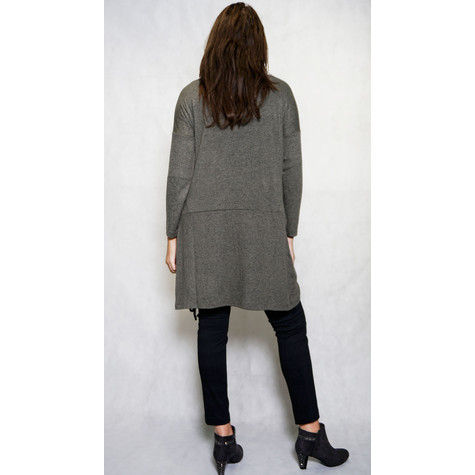SophieB Khaki Rouched Long Open Knit