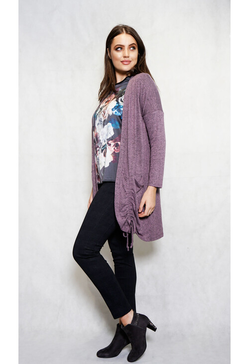 Sophie B Lilac Rouched Open Long Knit
