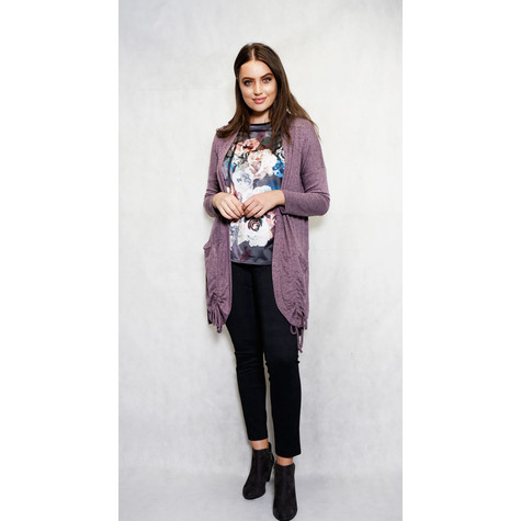 SophieB Lilac Rouched Open Long Knit