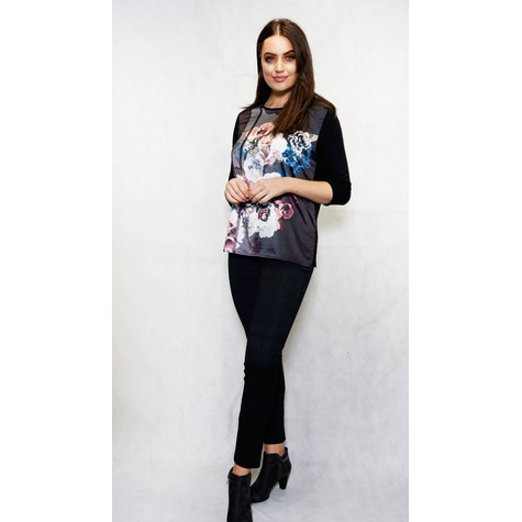 SophieB Black Rose Flower Print Top