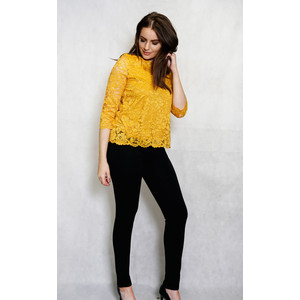 Zapara Mustard Lace Long Sleeve Top