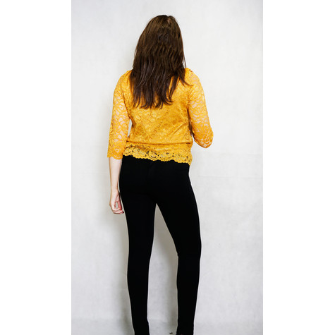 Zapara Mustard Lace Long Sleeve Top