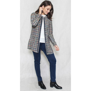 EFRO Grey & Gold Check Open Jacket