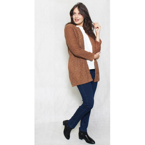 SophieB Brown Ruffle Long Open Jacket