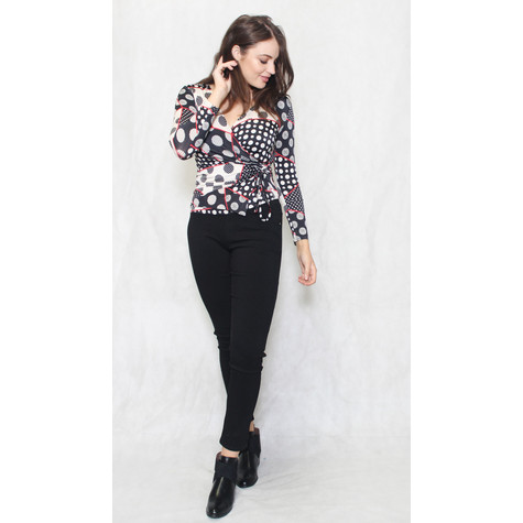 Zapara Black & Cream Circular Pattern Print V-Neck Top