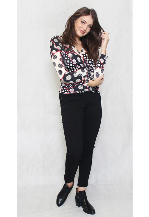 Zapara Black & Cream Circular Pattern Print V-Neck Top