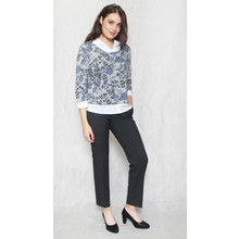 Twist Denim Leaf Print Grey 2 in 1 Top