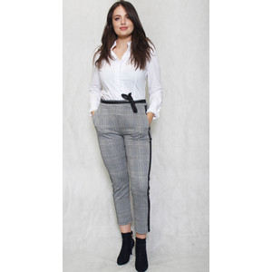 SophieB Black & Grey Check Belted Trousers