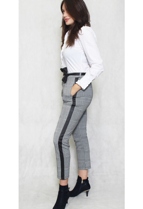 Sophie B Black & Grey Check Belted Trousers