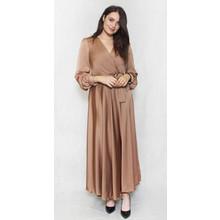 Pamela Scott Camel Long Satin Belted Dress