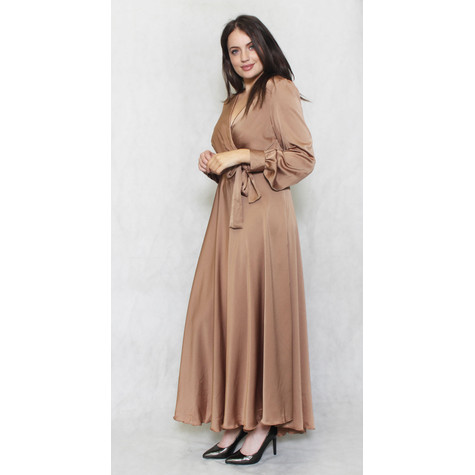 Pamela Scott Camel Long Satin Belted Dress