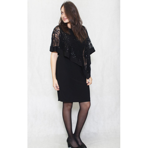 R and M Richard Black Mesh Cape Dress