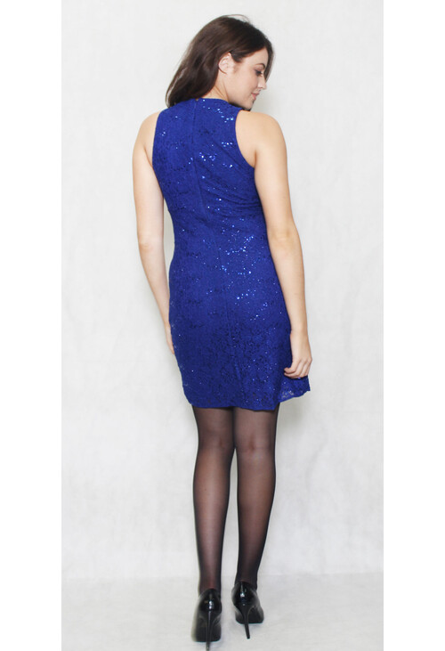 R and M Richard Royal Blue Short Lace Dress