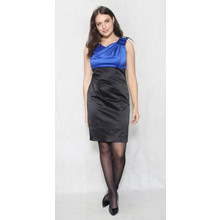 Scarlett Royal Blue & Black Bow Detail Dress