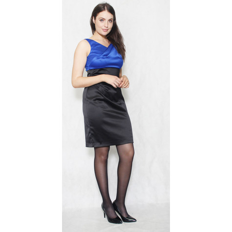 Scarlett Royal Blue & Black Bow Detail Dress