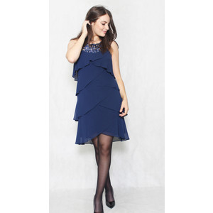 SL Fashions Navy Tier Sleeveless Sequence Detail Dress