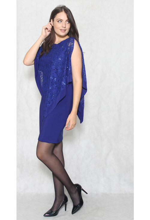 Scarlett Royal Chiffon Cape Lace Dress