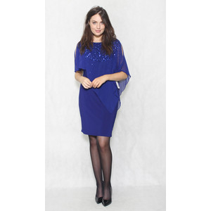 Scarlett Royal Blue Chiffon Cape Sequence Detail Dress