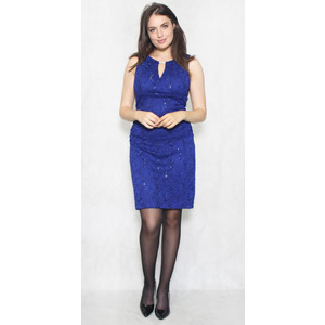 Scarlett Royal Blue Floral Lace Sleeveless Dress