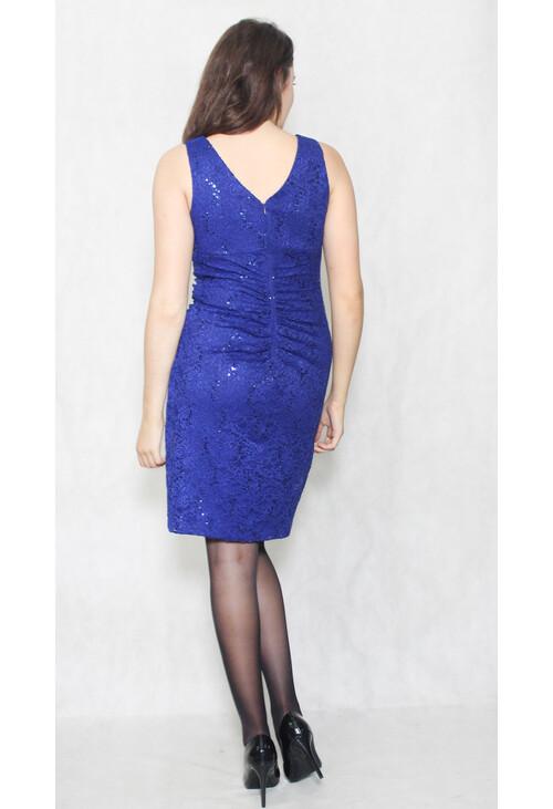 Scarlett Royal Blue Floral Lace Sleeveless Dress