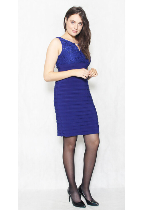Scarlett Royal Blue Gem & Lace Dress