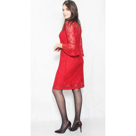 Ronni Nicole Red Lace Sequence Dress