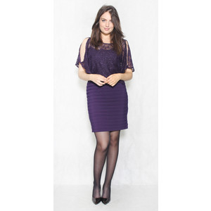 Scarlett Eggplant Lace Bust Cape Dress
