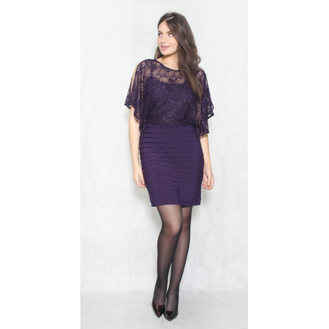 Scarlett Eggplant Lace Bust Cape Dress