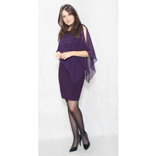 Scarlett Eggplant  Sequence Cape Dress