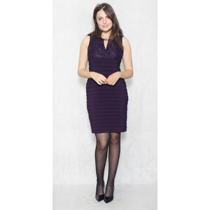 Scarlett Eggplant Lace & Gem Dress
