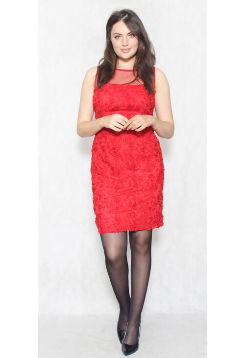 Scarlett Red Chiffon Floral Detail Dress