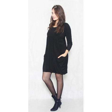 Flam Mode Black Round Neck Drape Dress