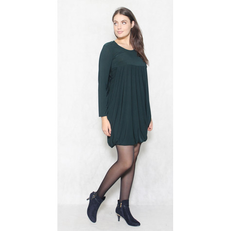 Flam Mode Bottle Green round Neck Drape Dress
