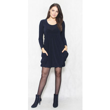 Flam Mode Navy Round Neck Drape Dress