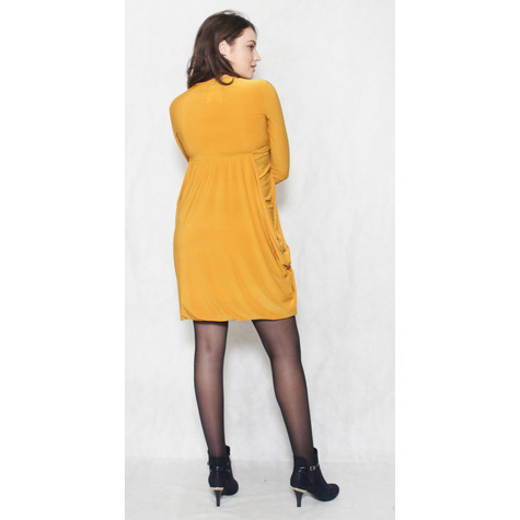 Flam Mode Mustard Round Neck Drape Long Sleeve Dress