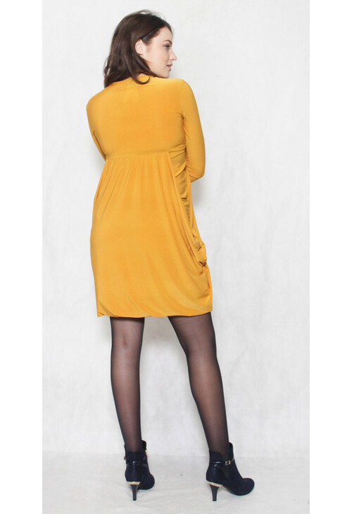 Pamela Scott Mustard Round Neck Drape Long Sleeve Dress