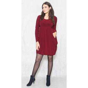Flam Mode Wine Round Neck Drape Long Sleeve Dress