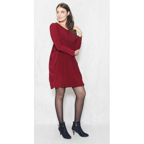 Flam Mode Wine Round Neck Drape Long Sleeve Dress