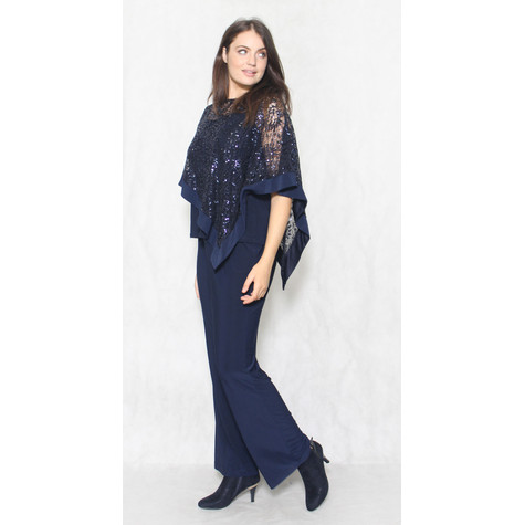 R and M Richard Navy Lace Cape 2 Piece Jumpsuit