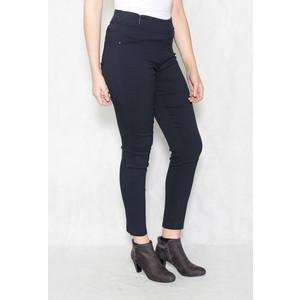 Christy Navy Elasticated Waist Slim Trousers